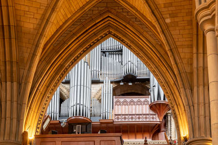 The organ inside Truro cathedral in Cornwall