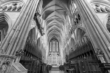 View of the inside of Truro cathedral in Cornwall. Editorial