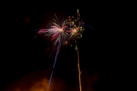 Long exposure of fireworks in the sky.