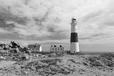 Black and white photo of Portland Bill lighthouse on the Jurassic coast in Dorset