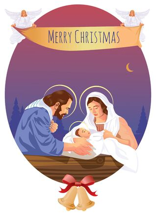 Christian Christmas nativity scene with baby Jesus and angels Illustration