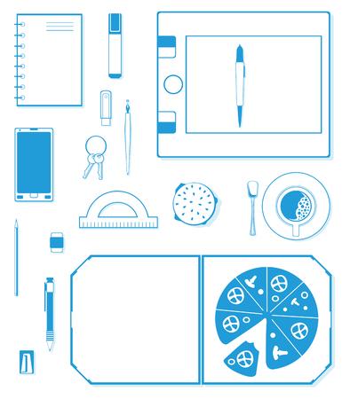 graphic illustration: Graphic designer workplace - illustration Illustration