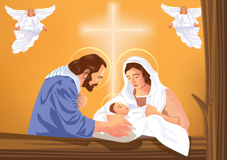 Christian Christmas nativity scene with baby Jesus and angels Stock Illustratie