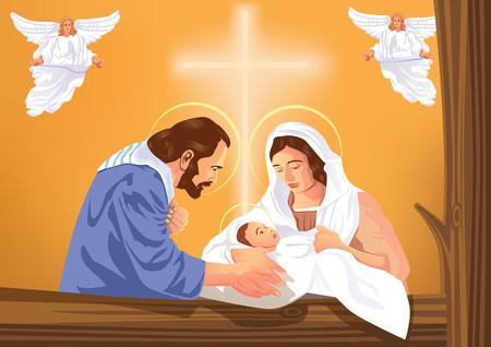 Szopka Bożego Narodzenia z Dzieciątkiem Jezus i aniołów
