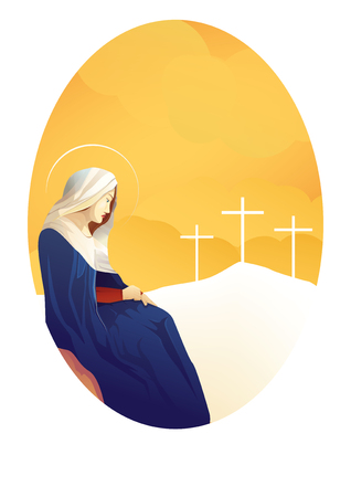 Mary and Jesus on the cross background