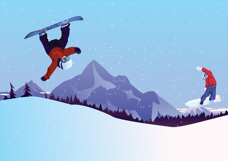 Winter sport, snowboarding - vector illustration