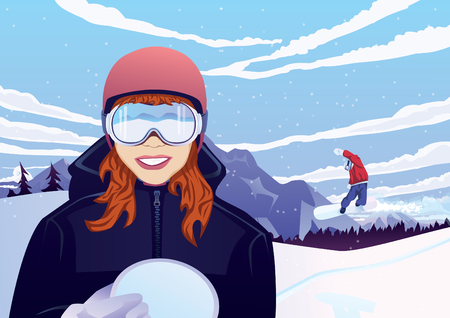 snowboard: Sexy girl with snowboard outdoors Illustration