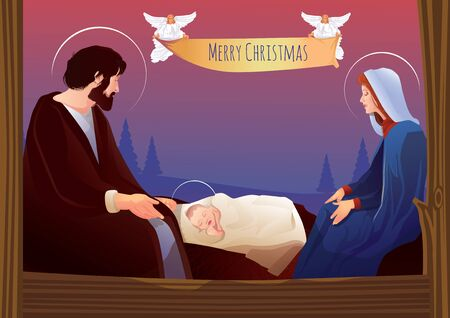 creche: Nativity scene with Holy Family nativity, scene, jesus, christmas, mary, joseph, baby, bethlehem, religion, bible, virgin, ribbon, angels, merry, christian, birth, religious, christ, creche, holy, family, church, manger , background, men, light, wise, cri