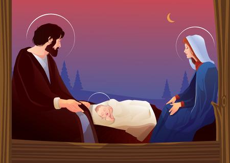 Kerststal met heilige familie Vector Illustratie