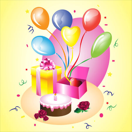 birthday gift with a heart, cake and balloons Vector