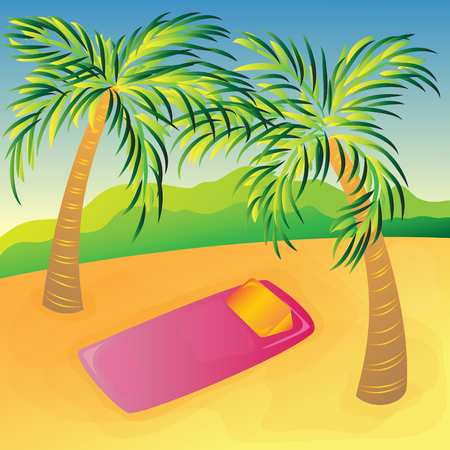 romance bed: cozy place on a sunbed under a palm tree Illustration