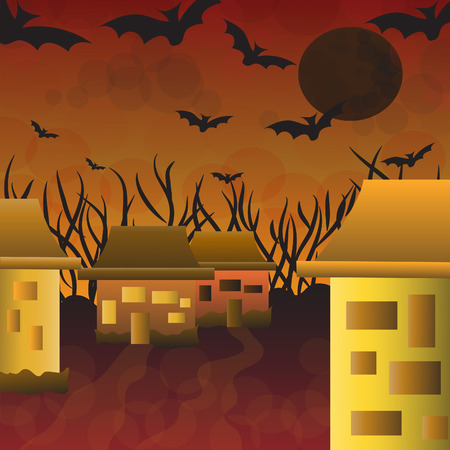 house at night in Halloween Vector