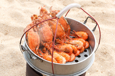 Crab and shrimp in   Steamer