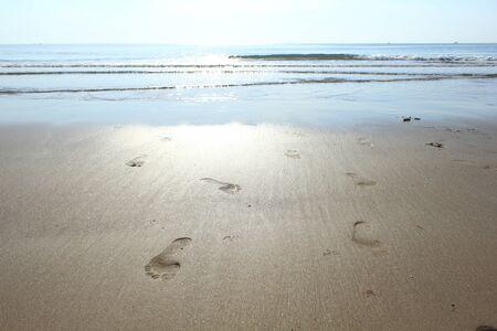 vestige: Footprint  on the sands. Stock Photo