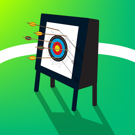 Archery target with arrows, hit the target, missed, vector, illustration Illustration