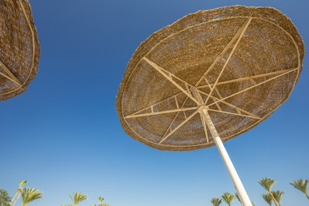 awnings: Looking up at a big beach umbrellas or awnings from straw on a racks against the blue sky. Close Up Stock Photo