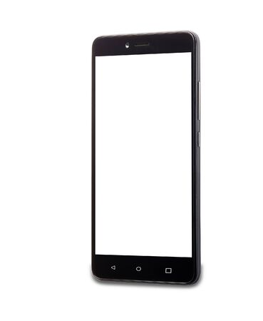 turned: smartphone with white screen  isolated on white background, turned