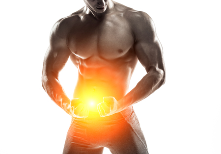 Close-up strong bodybuilder man posing with perfect abs, houlders,biceps, triceps and chest. Isolated on white background  Whith solar flare