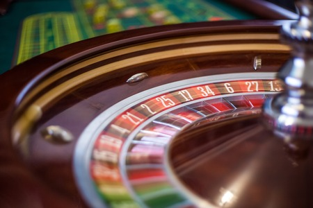 roulette wheels: Picture of a classic casino roulette wheel. Closeup details Stock Photo