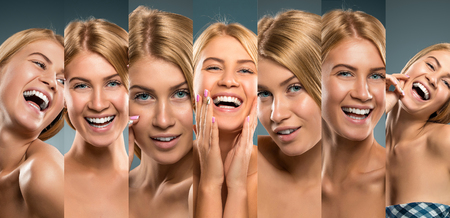 Collage of smiling girl portraits, Young blonde woman smiling fun. Studio shot Stock Photo