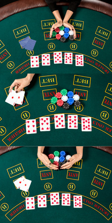 relies: collage concept poker. Woman relies, reveals the card wins and takes the chips. top view of the hands and table Stock Photo