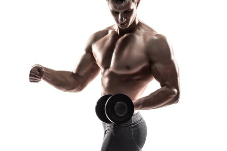 athletic body: Athletic man showing muscular body and doing exercises with dumbbells, isolated on white background. Close-up.
