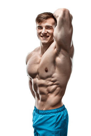 sixpack: Strong Athletic Man showing muscular body and sixpack abs over white background