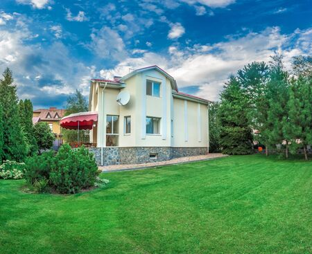 Horizontal view of single-family home Stock Photo