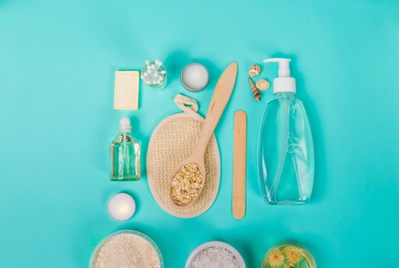 holistic view: Natural domestic products for skincare. Oat, oil, soap, facial cleanser.