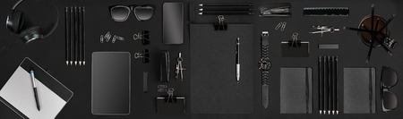 office items: Creative black office items Foto de archivo