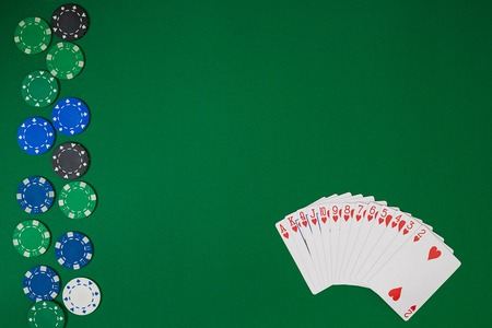 Banner template layout mockup for online casino. Green table, top view on workplace. Stock Photo