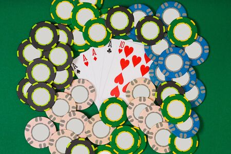 bets: Poker. Banner template layout mockup for online casino. Green table, top view on workplace.