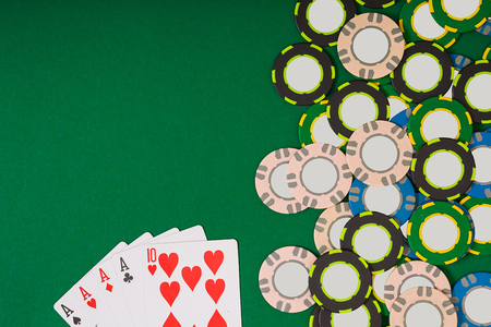 Poker. Banner template layout mockup for online casino. Green table, top view on workplace.