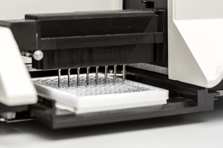 chromatograph: A chemical sample bottle. Centrifuge. A test tube vial sets for analysis. Stock Photo