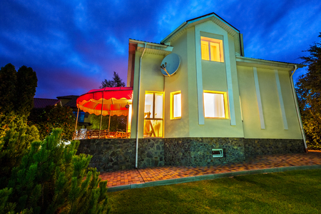 House at night. Houses in suburb. Stock Photo