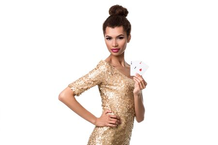 Pretty african girl shows two aces in casino poker and win