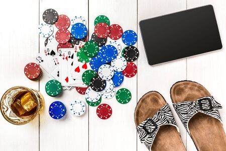 wooden post: Post blog social media poker. Banner template layout mockup for online casino. Wooden white table, top view on workplace.