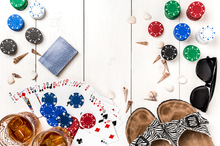 Post blog social media poker. Banner template layout mockup for online casino. Wooden white table, top view on workplace.
