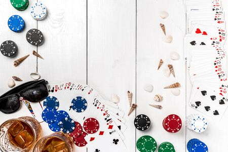 footwear: Post blog social media poker. Banner template layout mockup for online casino. Wooden white table, top view on workplace.