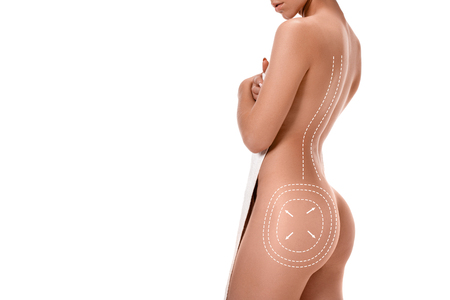 Female body with the drawing arrows on it isolated on white. Fat lose, liposuction and cellulite removal concept. Imagens