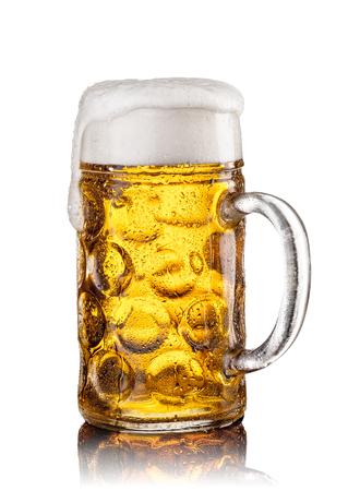 Mug with beer on white background. Still life Stock Photo