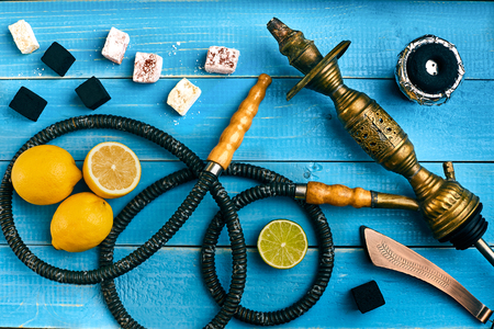 Hookah. Tobacco with lemon and lime flavor. Top view