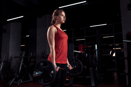 Young beautiful woman doing exercise with bar in a gym. Athletic girl doing workout in a fitness center. Stock Photo