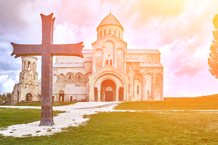 Church, located Racha region of Georgia, lower Svaneti mountains. Europe. Travels. Nature. Sun flare