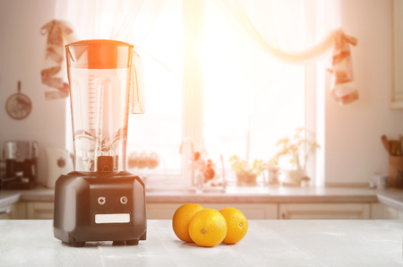 The electric blender for make fruit juice or smoothie. Sun flare Stock Photo
