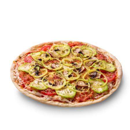Mushroom pizza vegetarian on white background isolated