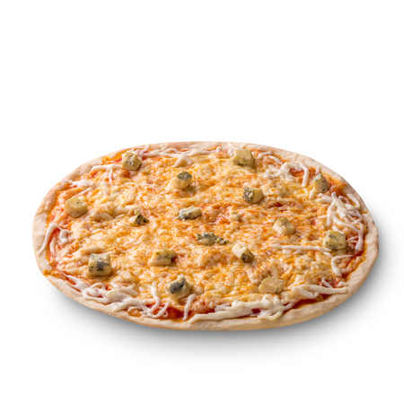 Overhead view isolated on white of a whole freshly baked delicious four cheeses Italian pizza on white background