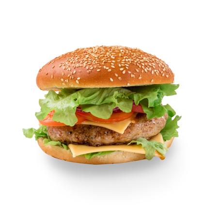 Tasty hamburger on white background