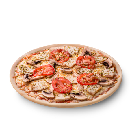 Meat chicken and mushrooms pizza isolated on white background. Фото со стока