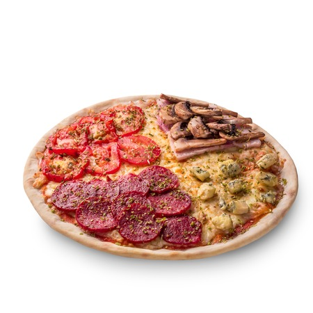 Pizza with pepperoni, champignons, tomato and cheese. Four tastes in one pizza on white background. Photo for the menu